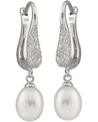 Splendid - Rhodium Plated 7.5-8mm Freshwater Pearl Earrings - Lyst