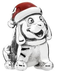 PANDORA - Christmas Puppy Silver Enamel Charm - Lyst