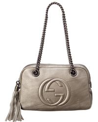 e5de3dbf4239 Gucci - Grey Metallic Leather Soho Chain Shoulder Bag - Lyst