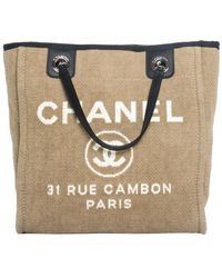 Chanel - Beige Canvas Deauville Tote - Lyst