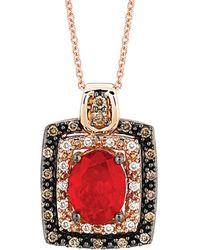 Le Vian - ® Chocolatier® 14k Rose Gold 1.27 Ct. Tw. Diamond & Fire Opal Necklace - Lyst
