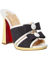 Christian Louboutin - Miss Daisy 120 Polka Dot Suede & Patent Slide - Lyst