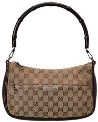 Gucci - Brown GG Canvas Bamboo Shoulder Bag - Lyst