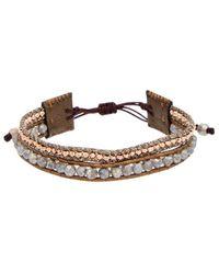 Chan Luu - Rose Gold Over Silver & Silver Labradorite Leather Adjustable Bracelet - Lyst