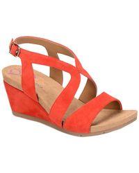 Comfortiva - Vandy Suede Wedge Sandal - Lyst