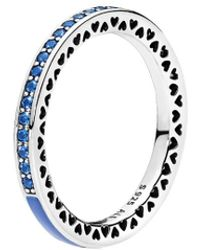PANDORA - Silver & Blue Cz Radiant Heart Ring - Lyst