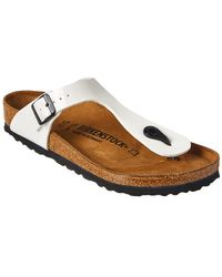 7648a37f688a Birkenstock Gizeh Faux Patent-Leather Slides in Yellow - Lyst