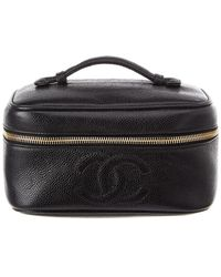 Chanel - Black Caviar Leather Horizontal Cosmetic Case - Lyst