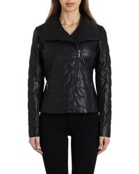 Badgley Mischka - Badgley Mischka Envelope Collar Quilted Leather Biker Jacket - Lyst