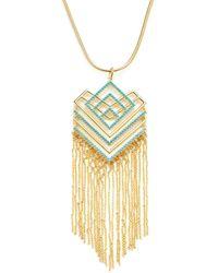 Noir Jewelry - Geometric Resin Fringe Necklace - Lyst