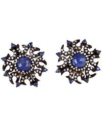 Socheec - Color Stone Jewelry 18k & Silver 2.95 Ct. Tw. Diamond & Gemstone Studs - Lyst
