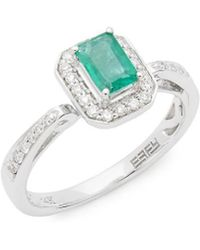 Effy - Fine Jewellery 14k, Diamonds & Emerald Ring - Lyst