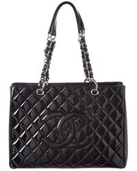 Chanel - Black Quilted Patent Leather Grand Shopping Tote - Lyst