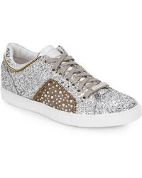 Alessandro Dell'acqua - Alessandro Dell Acqua Glitter Leather Lace-up Sneaker - Lyst