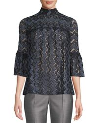 Anna Sui - Zig Zag Leaf Lace Blouse - Lyst