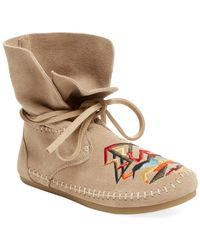 TOMS - Women's Zahara Embroidered Moccasin Suede Bootie - Lyst