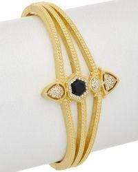 Judith Ripka - 14k Yellow Gold Over Silver 0.50 Ct. Black Onyx & Cz Cuff Bracelet - Lyst
