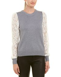 Rebecca Taylor - Lace-sleeve Wool-blend Pullover - Lyst