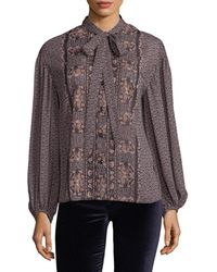Plenty by Tracy Reese - Floral Tie Neck Shirt - Lyst
