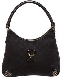 2c12b6fe537 Lyst - Gucci Black GG Canvas   Leather Hobo Bag in Black