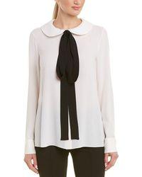 57057a14d19fd Lyst - Michael Kors Long-sleeve V-neck Top in White