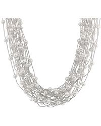 Splendid - Rhodium Plated Silver 7-8mm Freshwater Pearl Necklace - Lyst