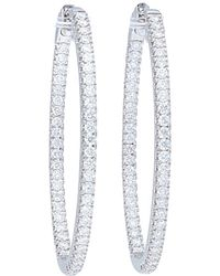 Nephora - 14k White Gold 1.20 Ct. Tw. Diamond Hoops - Lyst