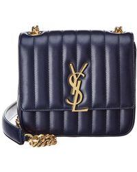 3dc73f5e1020 Lyst - Saint Laurent Classic Baby Matelasse Monogram Leather Satchel ...