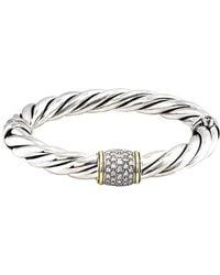 David Yurman - David Yurman Metro 18k & Silver 0.50 Ct. Tw. Diamond Bangle Bracelet - Lyst