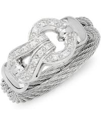 Alor - 18k White Gold Stainless Steel & Diamond Ring - Lyst