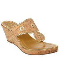 adce7ed3a15 Jack Rogers Women s Lennon Leather   Cork Wedge Platform Sandals - Lyst