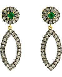 Socheec - Colour Stone Jewellery 14k & Silver 1.00 Ct. Tw. Diamond & Gemstone Drop Earrings - Lyst