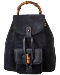 Gucci - Navy Suede & Leather Small Bamboo Backpack - Lyst