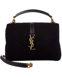 Saint Laurent - University Medium Matelasse Velvet & Leather V-flap Shoulder Bag - Lyst