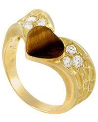 Heritage Van Cleef & Arpels - Van Cleef & Arpels 18k 0.30 Ct. Tw. Diamond & Tiger's Eye Ring - Lyst