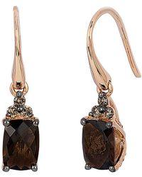 Le Vian - ® 14k Rose Gold 1.54 Ct. Tw. Diamond & Smoky Quartz Drop Earrings - Lyst