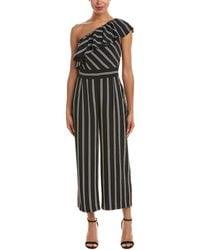 Laundry by Shelli Segal - One Shoulder Stripe Jumpsuit With Pockets - Lyst