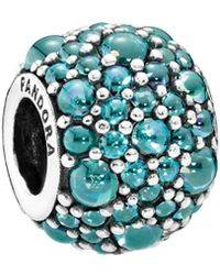 PANDORA - Silver & Teal Cz Shimmering Droplet Charm - Lyst