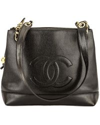 Chanel - Black Caviar Leather Coco Mark Chain Shoulder Bag - Lyst