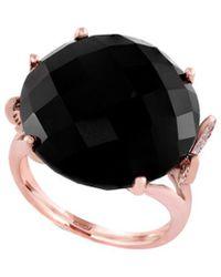 Effy - Fine Jewelry 14k Rose Gold 18.37 Ct. Tw. Diamond & Onyx Ring - Lyst