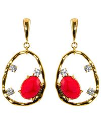 Gottex | 18k Plated Coral & Crystal Irregular Circle Drop Earrings | Lyst