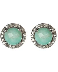 Adornia - Fine Jewelry Rhodium Plated Silver 3.38 Ct. Tw. Diamond & Emerald Studs - Lyst