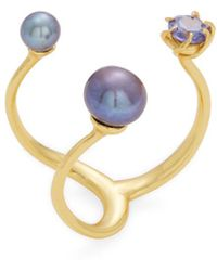 Amanda Pearl - 18k Plated Pearl & Crystal Ring - Lyst