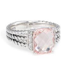 David Yurman - David Yurman Wheaton Silver 2.83 Ct. Tw. Diamond & Morganite Ring - Lyst