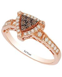 Le Vian - Chocolate And Vanilla Diamond Triangle Ring (1/3 Ct. T.w.) In 14k Rose Gold - Lyst
