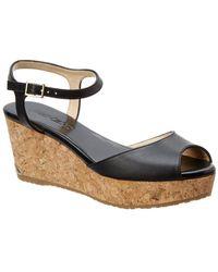 Jimmy Choo Perla 70 Leather Cork Wedge Sandal