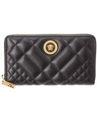 Versace - Medusa Tribute Quilted Leather Zip Around Wallet - Lyst