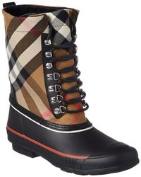 Burberry - Lace-up House Check & Rubber Rain Boot - Lyst
