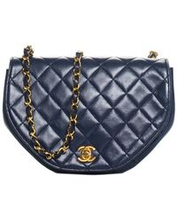 Chanel - Navy Quilted Lambskin Leather Half Moon Crossbody - Lyst