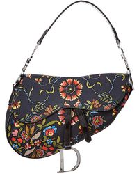 Dior - Limited Edition Navy Canvas Floral Saddle Bag - Lyst
